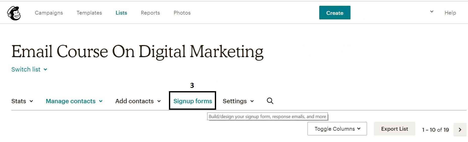 sign up forms on mailchimp
