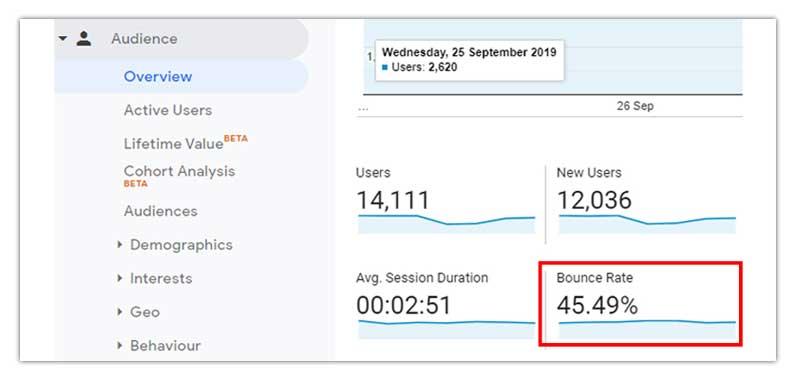 Bounce Rate on Google Analytics