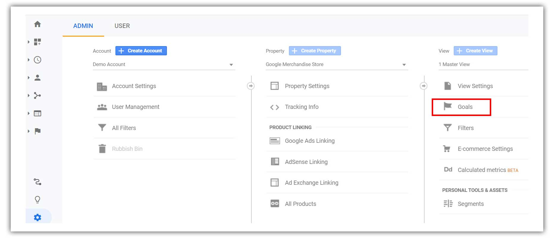 Click on goals within the admin panel